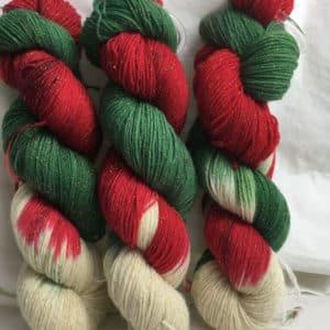 Weihnachtszauber - Handgefärbte Glitzerwolle