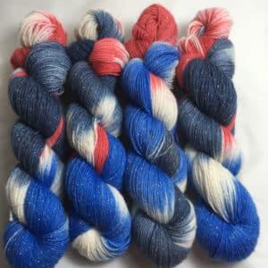 United States - Handgefärbte Glitzer Wolle