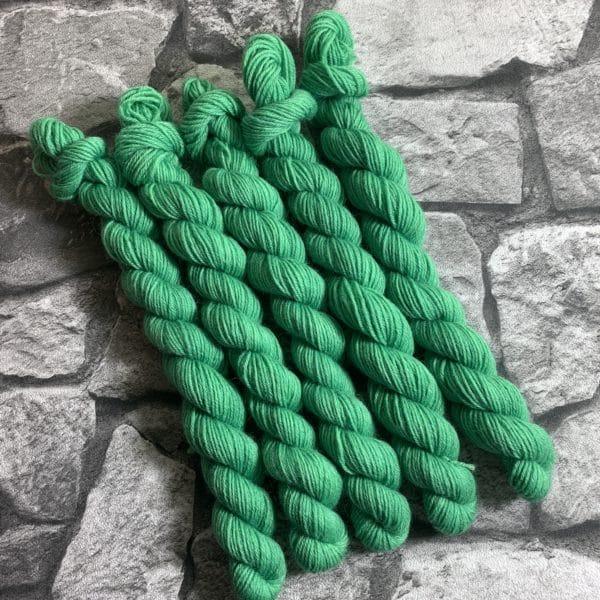 Ein Strang handgefärbte Wolle mit dem Namen Nolde von Wolldackel