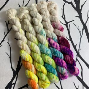 Ein Strang handgefärbte Wolle mit dem Namen Flashdance – Minis – 5Pack von Wolldackel