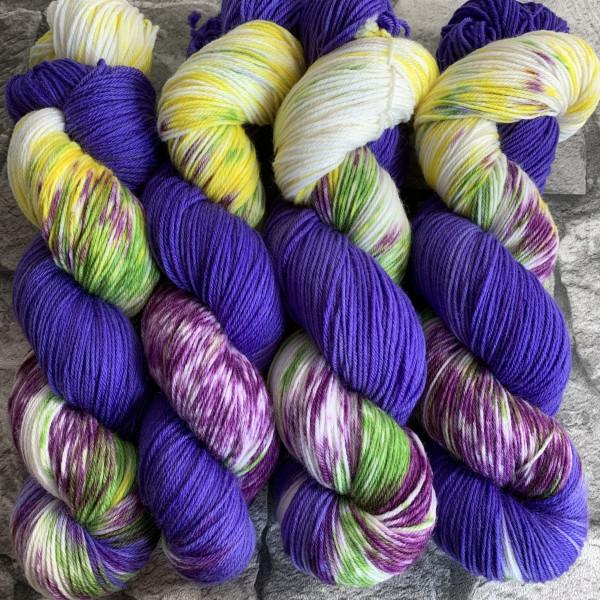 Ein Strang handgefärbte Wolle mit dem Namen Lilac-Crowned-Papagayo  –  Xtrafine von Wolldackel