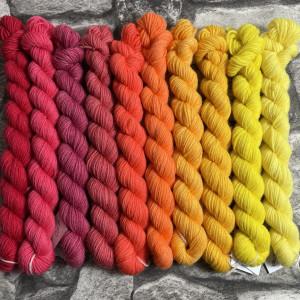 Ein Strang handgefärbte Wolle mit dem Namen Minipack – Classic  1002 von Wolldackel
