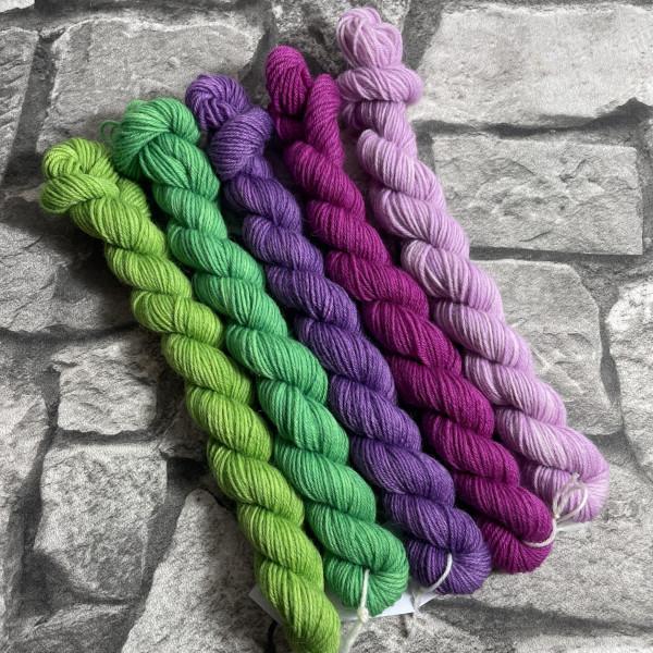 Ein Strang handgefärbte Wolle mit dem Namen Minipack – 505 von Wolldackel