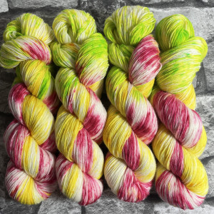 Ein Strang handgefärbte Wolle mit dem Namen Tulip –  Classic von Wolldackel