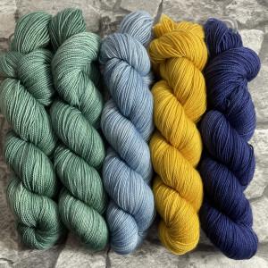 Ein Strang handgefärbte Wolle mit dem Namen Slipstravaganza – Kit 21 von Wolldackel