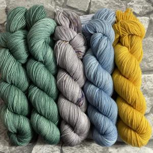 Ein Strang handgefärbte Wolle mit dem Namen Slipstravaganza – Kit 20 von Wolldackel