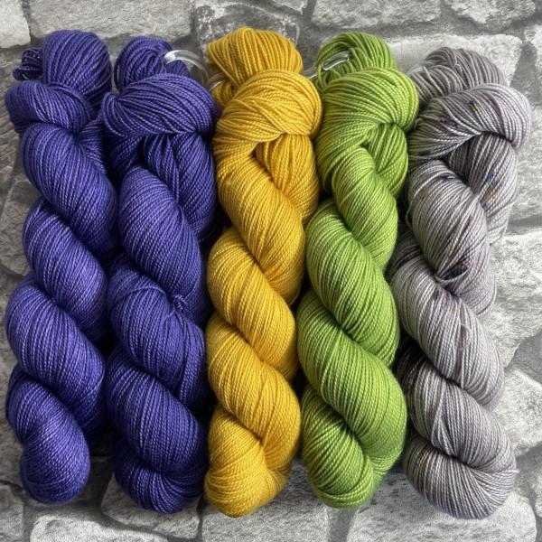 Ein Strang handgefärbte Wolle mit dem Namen Slipstravaganza – Kit 25 von Wolldackel