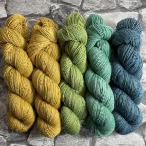 Ein Strang handgefärbte Wolle mit dem Namen Slipstravaganza – Kit 8 von Wolldackel