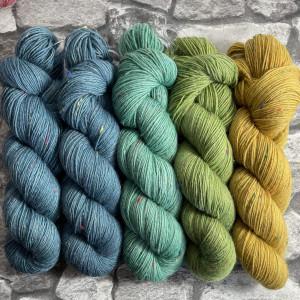 Ein Strang handgefärbte Wolle mit dem Namen Slipstravaganza – Kit 6 von Wolldackel