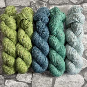 Ein Strang handgefärbte Wolle mit dem Namen Slipstravaganza – Kit 7 von Wolldackel